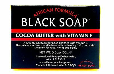 African Formula Black Soap Cocoa Butter With Vitamin E 100g/3.5oz