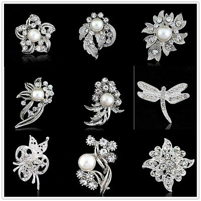 Retro Silver Flower Rhinestone Crystal Wedding Bridal Bouquet Pearl Brooch Pin