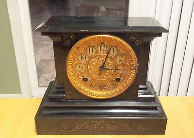 Antique Ansonia Steel Cast Iron Case Shelf Mantle Mantel Clock