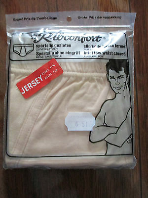 Vintage New Old Stock Mens Nude Brief Low Waist Closed Pants M Cotton Ribconfort