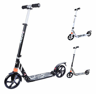 Adult City Scooter 200Mm Wheel Suspension Street Commuter Folding Push Kick