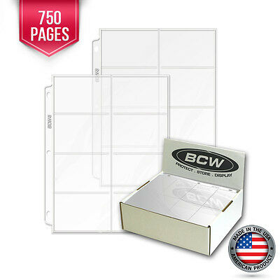 750 BCW Heavy Vinyl 8 Pocket Pre-1957 Trading Card / Coupon Pages Binder Sheets