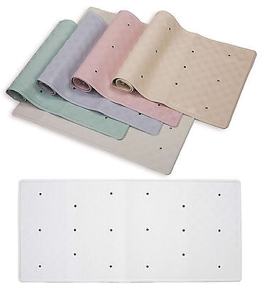 Rubber Bath Shower Mats 34 x 74cm & 37 x 90cm Various Colours & Bath Pillow New