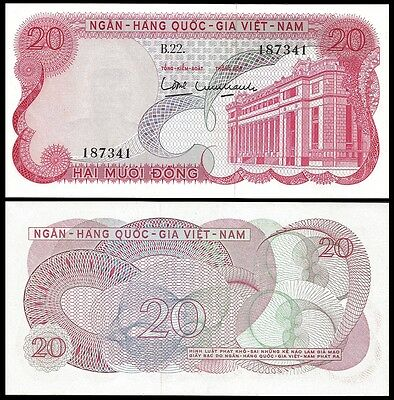Vietnam South 20 DONG ND 1969 P 24 UNC