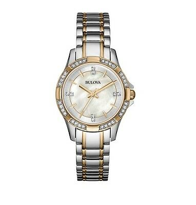 Bulova Women's Crystal Accent Two-Tone Stainless Steel Bracelet Watch 98L203