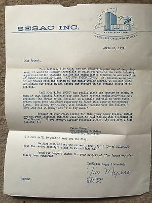 1957 Country Music Legend Faron Young Mgmt. Letter to Disc Jockey