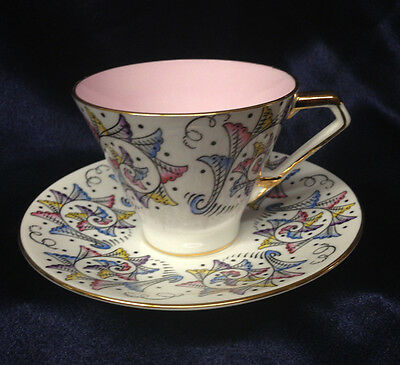 Hammersley 5452 - 6 5452 - 5 Footed Cup & Saucer 8 Oz Spirals Fans Pink Interior