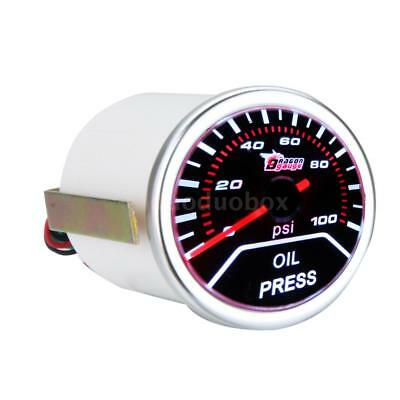 "2"" 52mm 0-100PSI Car Oil Pressure Gauge Meter Smoke Lens Pointer Universal A6K2"