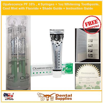 4 Syringes OPALESCENCE PF 35% Mint Teeth Whitening Gel + Toothpaste, SHADE GUIDE