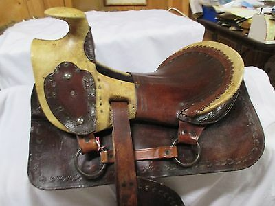 Rare Exquisite ANTIQUE 1860s Exposed Rawhide & Leather Riding Saddle MAKE OFFER