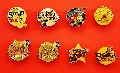 DISNEYLAND 30TH ANNIVERSARY PINS SET OF 8 FEATURING ALL THE LANDS NEW and Rare