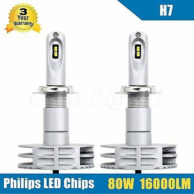 1 Pair 80W 16000LM  H7 LED Headlights Headlamp Conversion Kit PHILIPS Chips Bulb