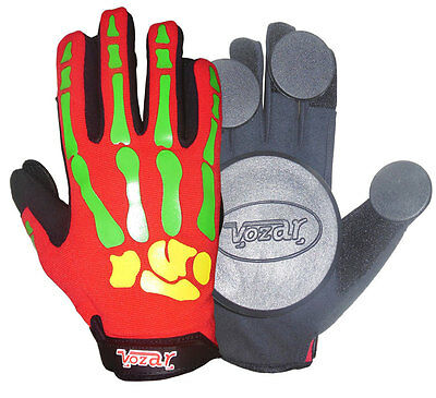 Longboard/Sliding/Free Ride Gloves with Quality Pucks Red.
