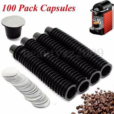 100 Reusable Coffee Capsule Cup With Aluminum Foil Pods For NESPRESSO Machine