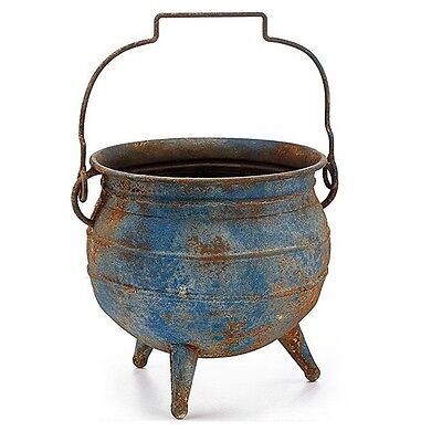 """One (1)Rustic Style Blue Cauldron Shape Tin Planter / Container ~ 9"""" High ~New!"""