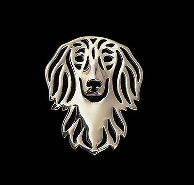 Dachshund Long Haired Brooch or Pin -Fashion Jewellery Silver Plated, Stud Back