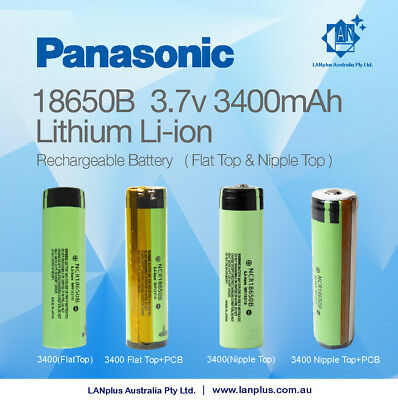 Panasonic NCR 18650B 3400mAh Flat Top & Nipple Top Li-ion Rechargeable Battery