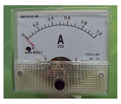 1pcs 1A Analog Panel AMP Current Meter Ammeter Gauge 85C1 White 0-1A DC