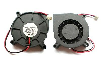 5PCS 2 Wires DC 12V Fans Turbine Brushless Cooling Blower Fan 60mm x 15mm  6015