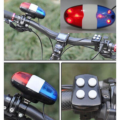 New Police Car Bicycle 6 LED Safety Light 4 Sounds Trumpet Cycling Horn Bell