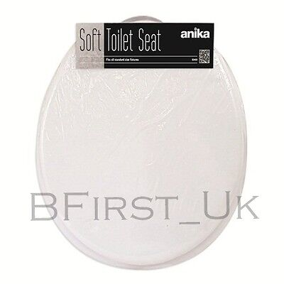 White Soft PVC Toilet Seat Bathroom Easy Clean Standard Size Plastic Hinges New