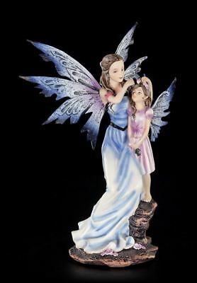 Elfen Figur - Mary mit Tochter - Fee Mutter Kind Statue Fantasy Deko