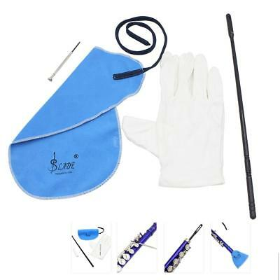 Flute Cleaning Kit Set with Cleaning Cloth Stick Cork Grease Gloves H1R3