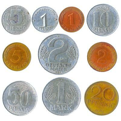 Mixed Bulk Lot of 10 Germany Coins Pfennig Mark 1940-2001