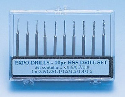 Expo 10 Piece Drill Set 0.6 to 1.5mm With 2.35mm Shank