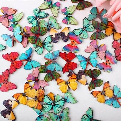 New 50Pcs/Lot 2Holes Mixed Butterfly Wooden Buttons Sewing Scrapbooking
