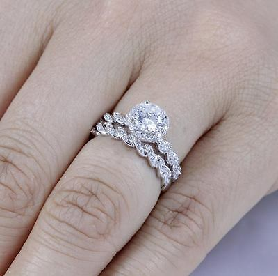 925 Sterling Silver Halo Cz Wedding Engagement Rings Set Women Size 4-11 Ss762