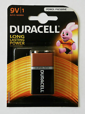 DURACELL DURALOCK 9v 9 VOLT BLOCK BATTERY CELL PP3 GENUINE ALKALINE POWER