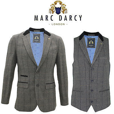 Mens Marc Darcy Designer Tweed Herringbone Charcoal Dinner Coat Blazer Waistcoat