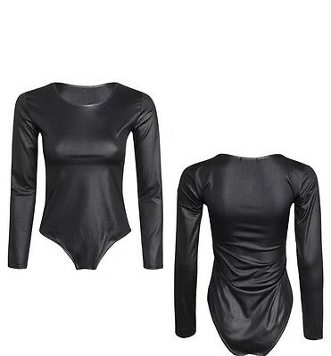 women's pvc leotard shiny black wet look long sleeve bodysuit