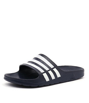 New Adidas Duramo Slide Navy/White Men Shoes Casuals Sandals Casuals