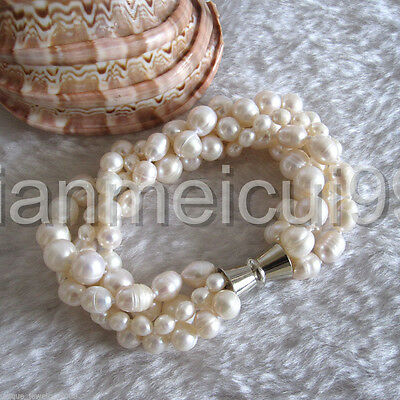 """8"""" 4-10mm 4Row White Freshwater Pearl Bracelet Off Round Rice Natural"""