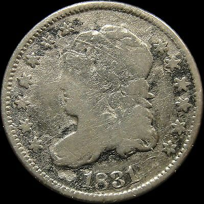 1831 Capped Bust Liberty Silver Half Dime VG Very Good Cleaned