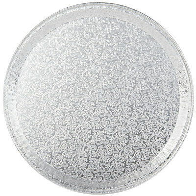 """Pactiv 12"""" Flat Round Aluminum Foil Catering Serving Tray Platter 451212A 50pk"""