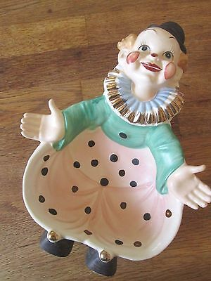 VTG large hand painted ceramic clown candy / snack dish gilt trim Japan MINT