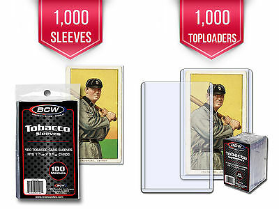 1000 Bcw Tobacco Card Toploaders & Sleeves (Also Fit Mini Cards Allen & Ginter)