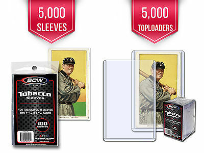 5000 Bcw Tobacco Card Toploaders & Sleeves (Also Fit Mini Cards Allen & Ginter)