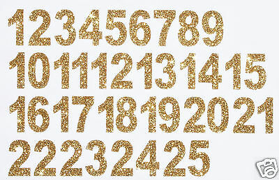 Christmas Advent Calendar Numbers 1-25 Iron-On Glitter - GOLD + FREE Rhinestones