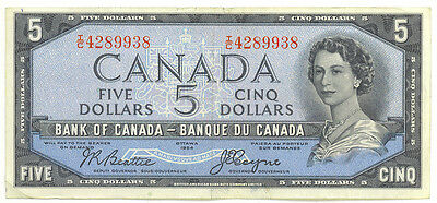 Bank of Canada 1954 $5 Five Dollars Devil's Face Portrait Beattie- Coyne Good VF