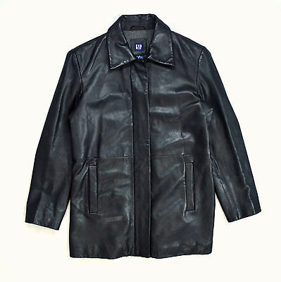 Soft Sleek Black Leather Wool Lined Quilted GAP Zip Up Riding Jacket Womens S