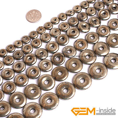 "Natural Grey Pyrite Gemstone Donut Beads For Jewelry Making 15"" 10mm 12mm 14mm"