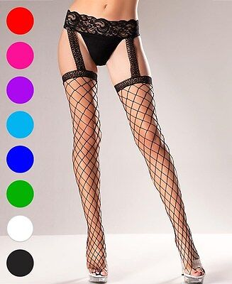 e99e40af1 NEW BE WICKED BW569 Black Fence Net Thigh High Stockings With Lace ...
