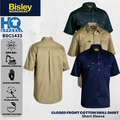 Bisley Workwear Shirts Closed Front Cotton Drill Shirt Short Sleeve Bsc1433