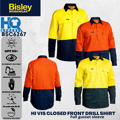 Bisley Safetywear Shirts - Hi Vis Untaped Closed Front 2 Tone L/s Bsc6267