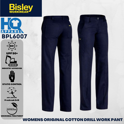 Bisley Workwear Pants Womens Ladies Cotton Drill Work Pant Bpl6007