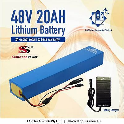 New EBIKE 48V 20AH Lithium-ion BATTERY PACK with Charger For Electric Bike 1000W
